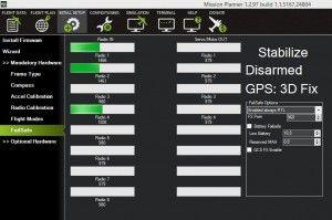 Вкладка FailSafe в Mission Planner